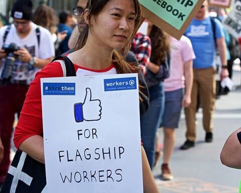 FACEBOOK'S CAFETARIA WORKERS PROTEST AGAINST RISING COST